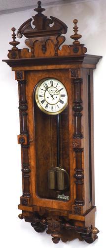 Rare Impressive Antique Burr Walnut 8-Day Twin Weight Striking Vienna Regulator Wall Clock by Gustav Becker (1 of 13)