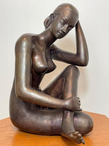 Art Deco Style Nubile African Tribal Bronze Nude Lady Statue Sculpture (1 of 28)