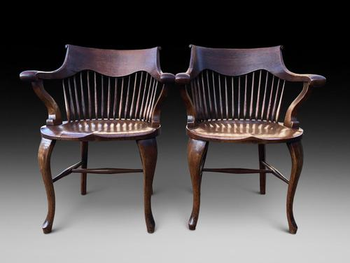 Pair of Victorian Oak Carver Chairs (1 of 3)