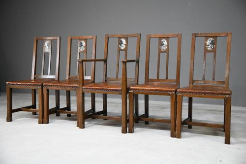 Set 5 Arts & Crafts Dining Chairs (1 of 12)