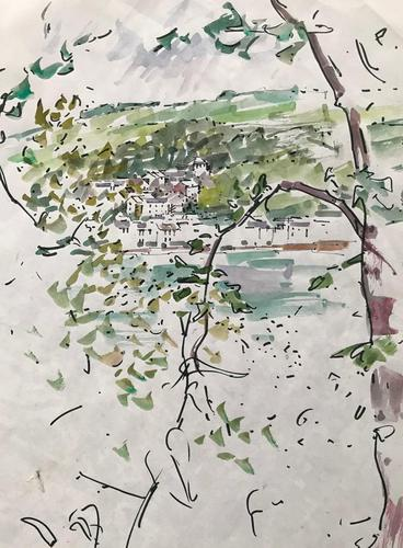 Original watercolour 'Kingsland thru trees' by Ken Walch 1928-2017. Signed c.1970 (1 of 1)