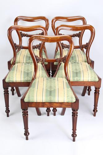 Set of 5 Antique Victorian Mahogany Balloon Back Chairs (1 of 13)