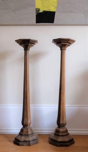 Antique Oak Jardinière Pedestals Stands (1 of 10)