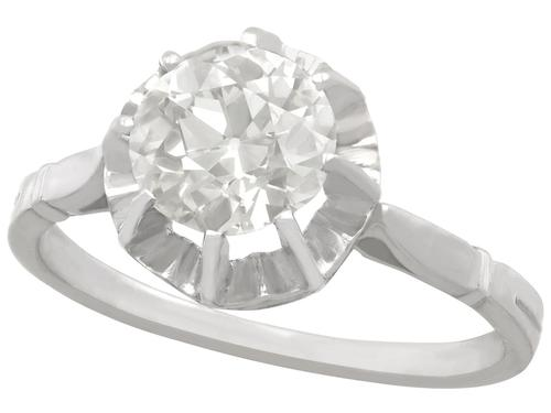 1.48ct Diamond & 18ct White Gold Solitaire Ring - Antique French c.1920 (1 of 9)