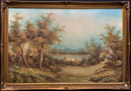 Large Fabulous 20th Century Vintage British Autumn Country Landscape Oil Painting (1 of 12)