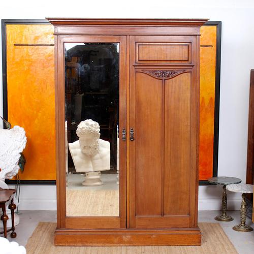 Wardrobe Walnut Mirrored Compactum Armoire Victorian (1 of 5)