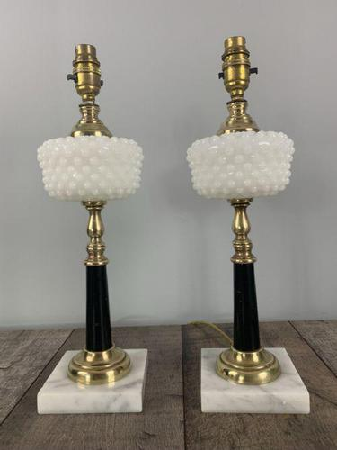 Pair of Hobnail Boot American Table Lamps, Rewired & PAT Tested c.1910 (1 of 9)