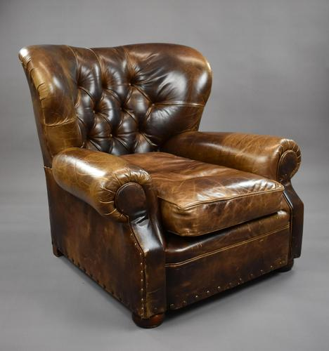 Large Brown Leather Arm Chair (1 of 8)
