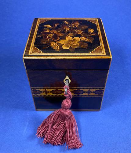 Victorian Rosewood Single Tea Caddy with Micro Mosaic Tunbridge Ware Inlay (1 of 11)