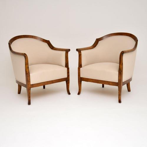 Pair of  Antique  Swedish Satin Birch  Armchairs (1 of 12)