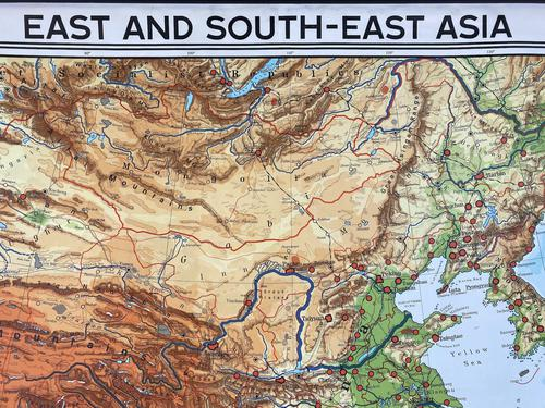 Large Vintage Westermann Wall Map of East & South-East Asia 1960's 'M-1747' (1 of 11)