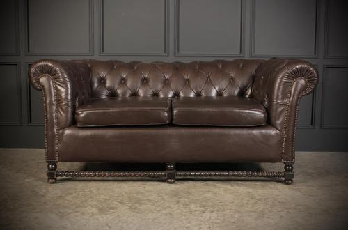 Dark Brown Leather Chesterfield Sofa (1 of 9)