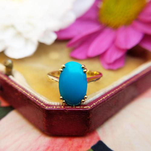 Vintage 18ct Yellow Gold & Turquoise Solitaire Ring (1 of 7)