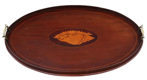 19th Century Inlaid Mahogany Oval Tea Serving Tray (1 of 4)