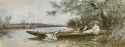 Thomas James Lloyd Watercolour 'A Summers Day On The River' (1 of 2)