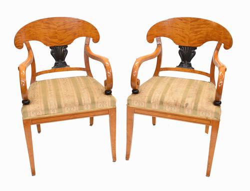 Pair of Biedermeier Armchairs Swedish Satin Birch Furniture c.1910 (1 of 10)