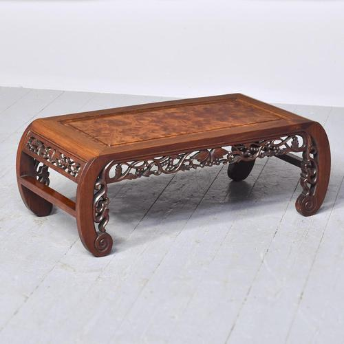 Qing Period Chinese Rosewood & Burr Wood Low Table (1 of 8)