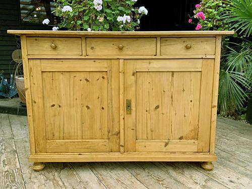 Large Old Pine Dresser Base Sideboard / Cupboard /  TV Stand - We Deliver (1 of 9)