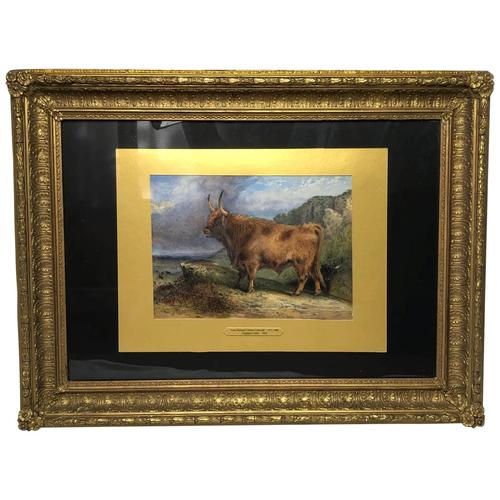 Victorian Scottish Highland Painting of Cattle by Aster Richard Chilton Corbould (1 of 40)