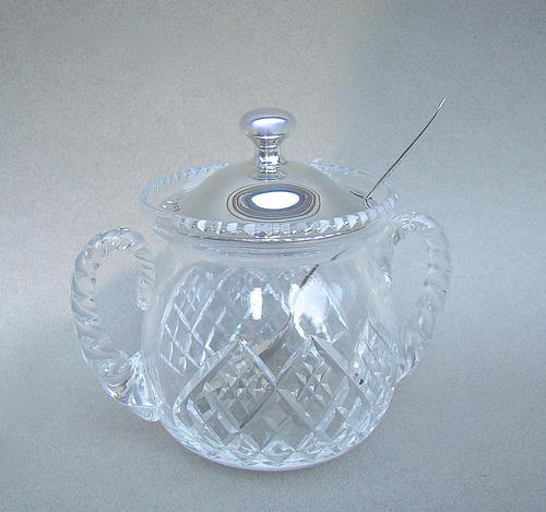 George V Silver & Hobnail Cut Glass Preserve Jar by Sanders & Mackenzie, Birmingham, 1927 (1 of 5)