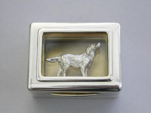 Early 20th Century Parcel Gilt Silver Table Vesta Case with Internal Cast Silver Spaniel by Goldsmiths & Silversmiths, London, 1912 (1 of 20)