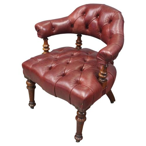 Victorian Walnut and Leather Office Chair (1 of 10)