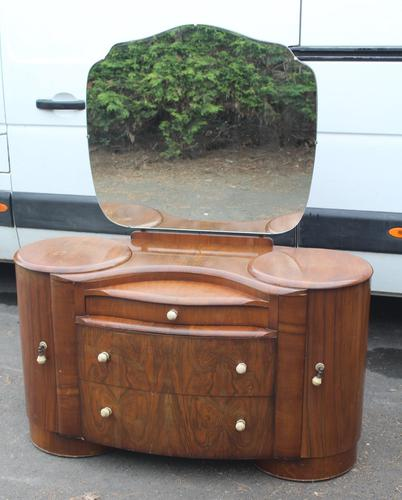 1940's Large Walnut Deco Dressing Table with Mirror by Shraeger (1 of 8)