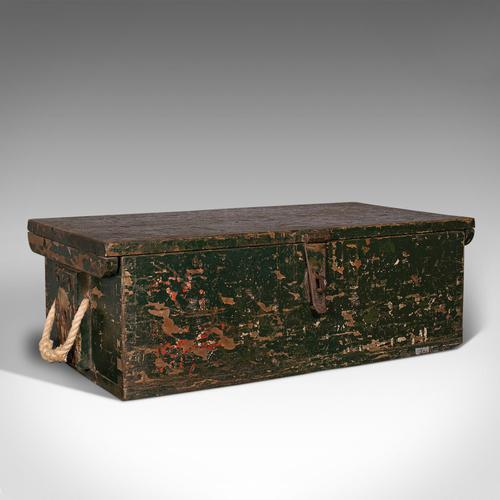 Small Antique Mariner's Trunk, English, Pine, Chest, Late Victorian c.1900 (1 of 12)