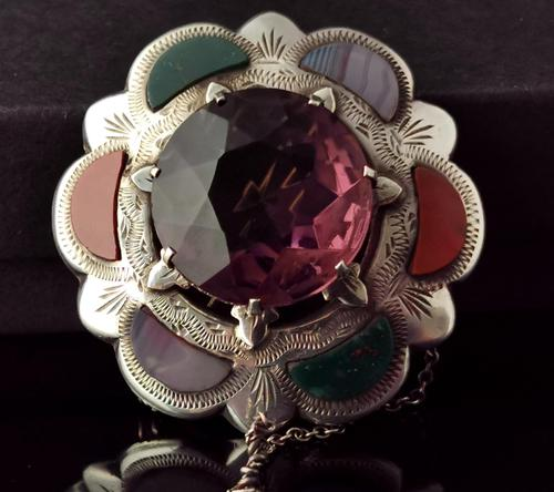 Victorian Scottish Agate & Amethyst Brooch, Sterling Silver (1 of 11)