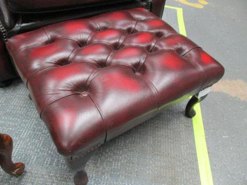 Red Leather Chesterfield Stool (1 of 2)