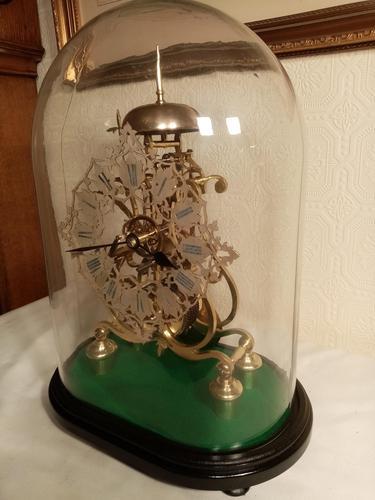 Passing Strike Skeleton Clock. Original Glass Dome (1 of 7)
