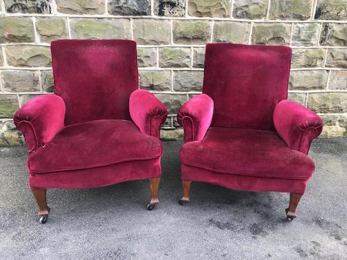Pair of Antique English Upholstered Armchairs For Recovering (1 of 7)