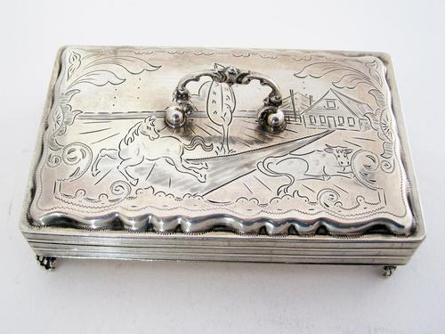 Antique Dutch Silver Jewellery Box Engraved with Farm Scenes (1 of 6)