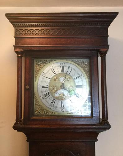 Halifax or Penny Moon 30 Hour Oak & Mahogany Longcase Clock (1 of 6)