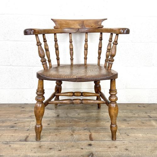 Antique Beech & Elm Smoker's Bow Chair (1 of 8)