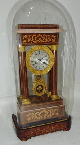 French Rosewwod Portico Clock Complete with Dome & Stand (1 of 9)