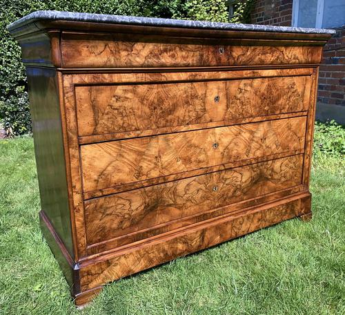 French Louis Philippe Commode in Figured Walnut (1 of 9)