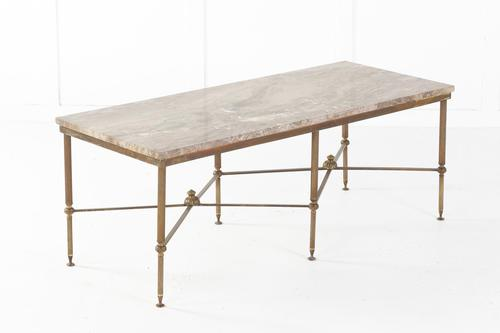 1960s Spanish Brass Coffee Table with Alabaster Top (1 of 5)