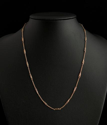 Antique Edwardian 9ct Gold Chain Necklace, Fancy Link (1 of 9)