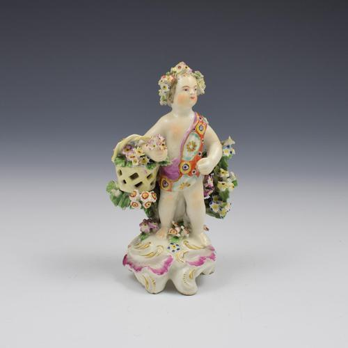 Derby Porcelain Figure Putto On Scrolled Base c.1765 (1 of 11)