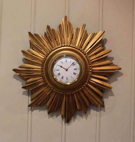 Sunburst Carved Giltwood Wall Clock (1 of 9)
