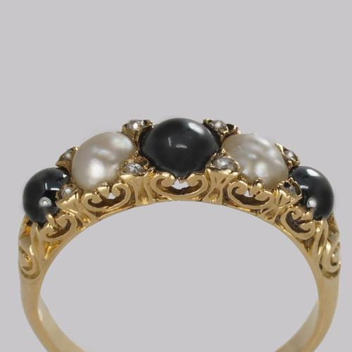 Antique Tahitian & White Pearl Ring 18ct Gold & Rose cut Diamond Victorian Ring (1 of 11)