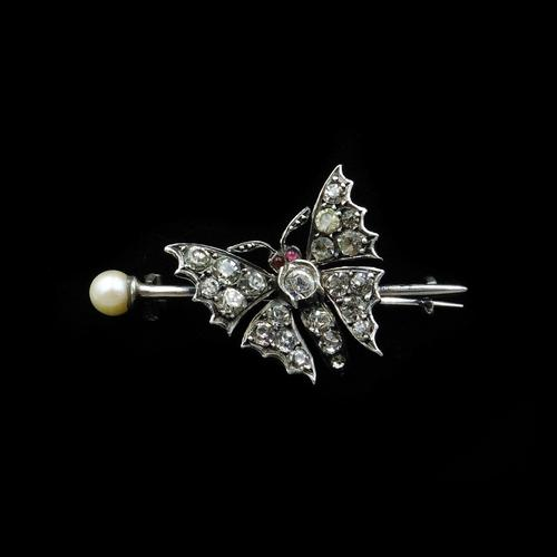 Antique Paste and Pearl Sterling Silver Butterfly Insect Brooch Pin (1 of 10)
