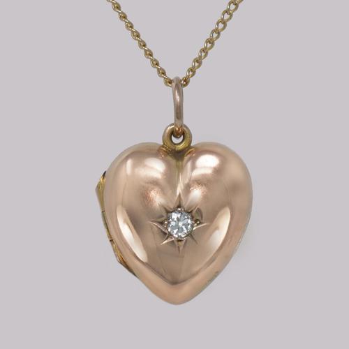 Victorian Diamond Heart Locket 9ct Gold Hinged Puff Heart Pendant & Chain Circa 1890 (1 of 9)