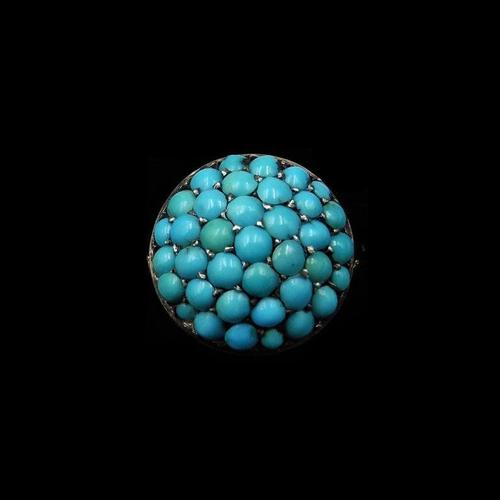 Antique Pavé Turquoise Bombé Cluster 9ct Gold & Silver Ring (1 of 8)