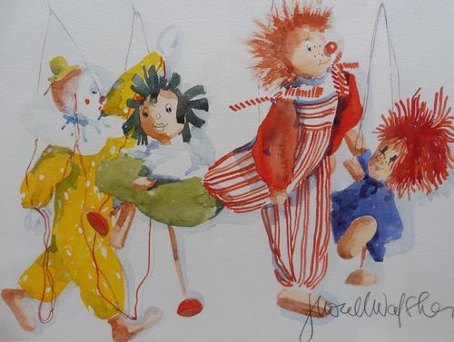 Watercolour The Puppets listed Irish artist Judith Caulfield Walsh (1 of 10)