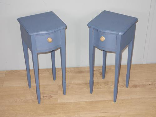 Pair of Small Blue Painted Bedside Tables (1 of 7)