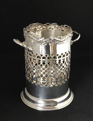 Edwardian Silver Plated Reticulated  Wine Bottle Holder (1 of 7)
