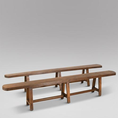 Pair of French Elm Wood Benches (1 of 1)