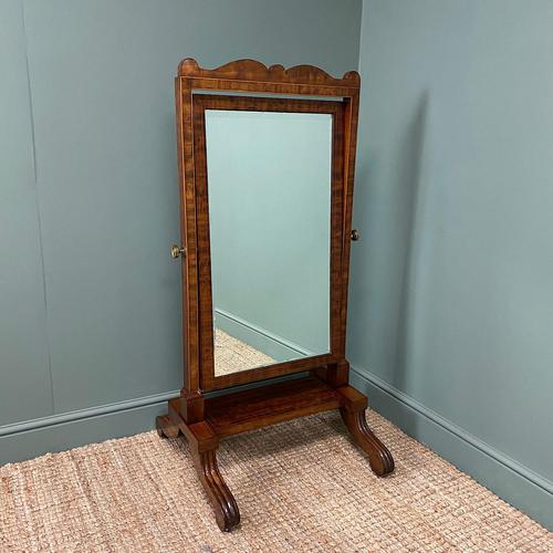 Elegant Small Victorian Inlaid Antique Cheval Mirror (1 of 6)